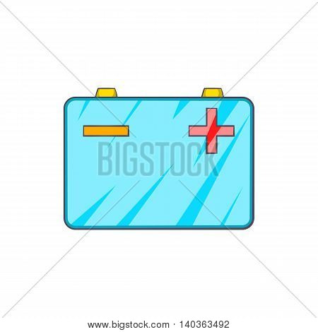 Car battery icon in cartoon style on a white background