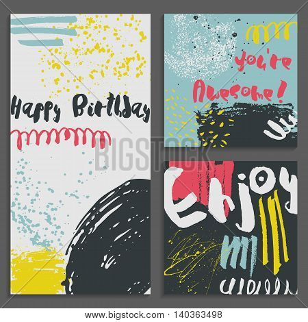 Set of abstract Greeting cards. Hand Drawn textures. Colorful shapes, lines and splashes. Editable templates. Trendy design for poster, card, invitation