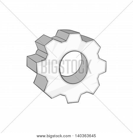 Gear icon in cartoon style on a white background