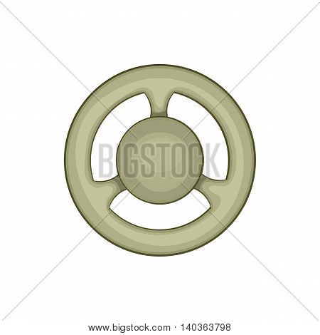 Steering wheel icon in cartoon style on a white background