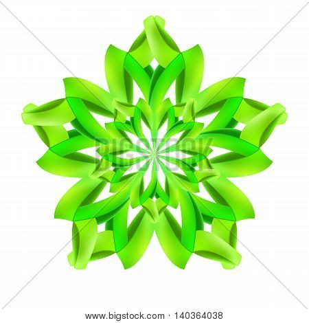 Ornate green pattern made of paper or ribbon
