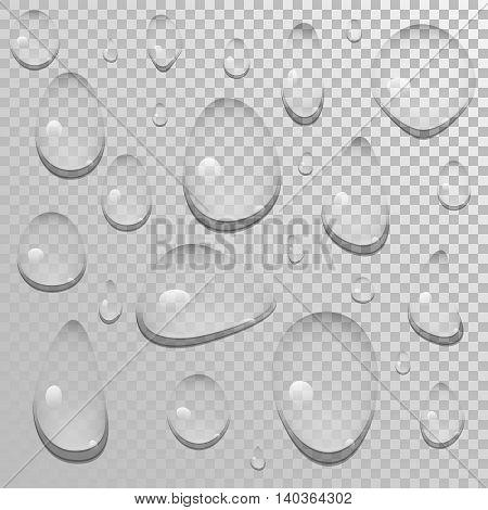 Vector set of a transparent water drops