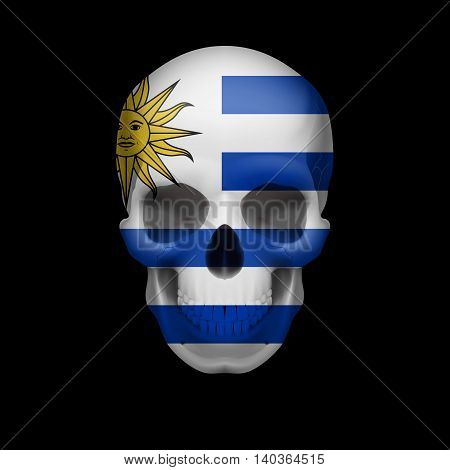 Human skull with flag of Uruguay. Threat to national security war or dying out