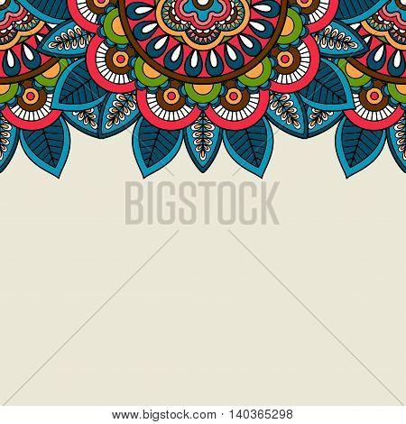 Indian doodle floral colored border. Vector illustration