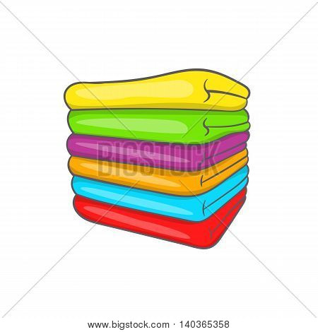 Towel stack icon in cartoon style on a white background