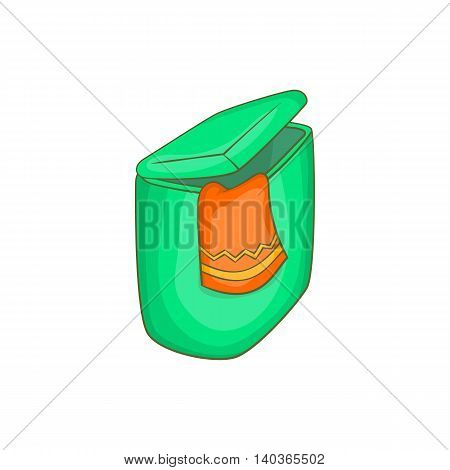 Green flasket for dirty washing icon in cartoon style on a white background