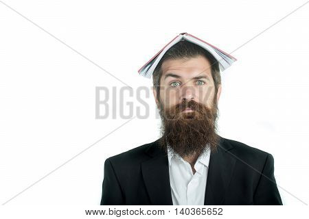 young handsome bearded man scientist or professor businessman with long beard in jacket holding book or notepaper isolated on white background copy space