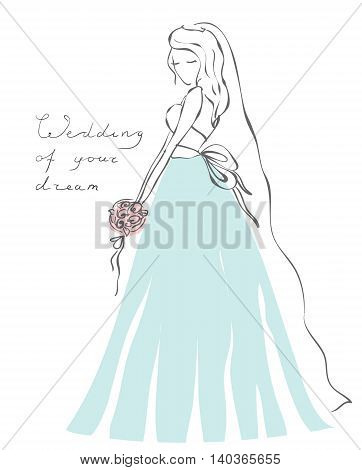 Vector pretty bride in elegance dress. Hand drawing illustration for wedding invitation