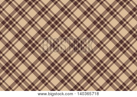 Beige brown diagonal check plaid seamless background. Vector illustration. EPS10.