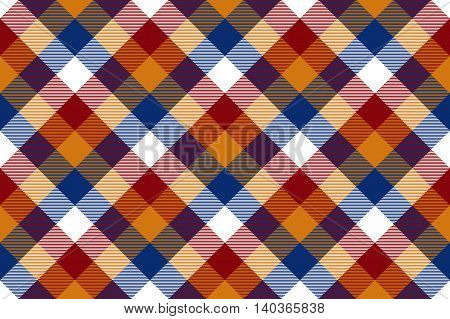 Colored diagonal check seamless fabric texture. Vector illustration. EPS10.