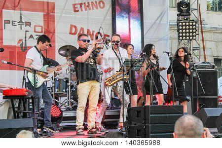 St. Petersburg, Russia - 2 July, Dancing on stage musicians, 2 July, 2016. Annual international festival of jazz and blues in St. Petersburg.