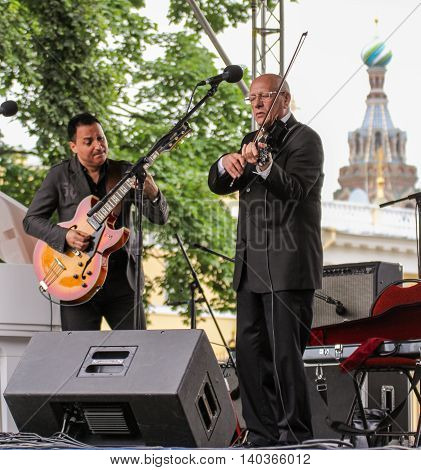 St. Petersburg, Russia - 23 July, Duo jazz musicians, 23 July, 2016. Speech by David Goloschekin with his jazz group on the Arts Square in St. Petersburg.