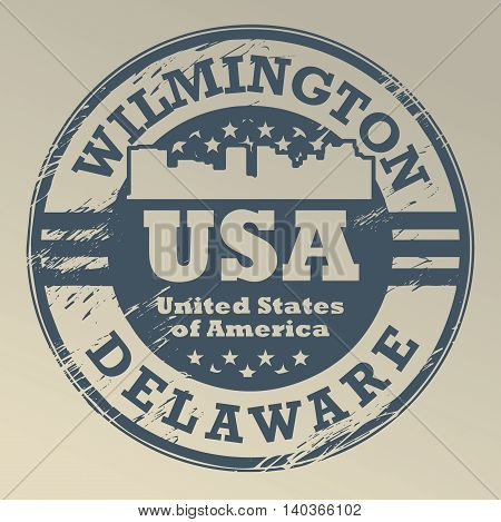 Grunge rubber stamp with name of Delaware, Wilmington, vector illustration