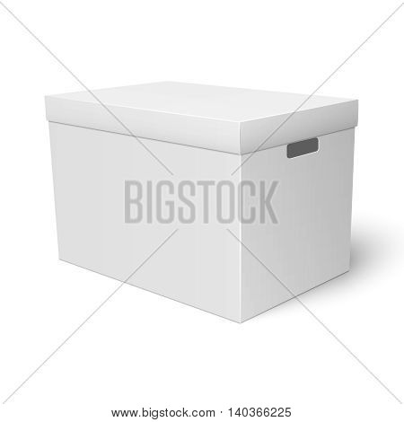 Blank paper or cardboard storage box template with closed lid on white background Packaging collection. Vector illustration.