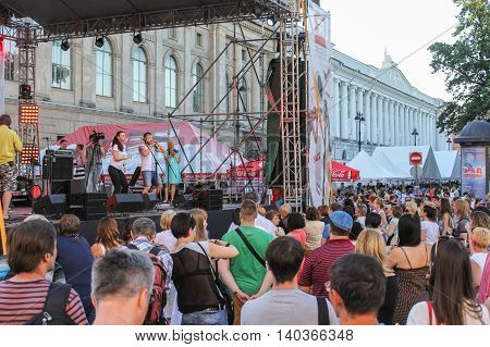 St. Petersburg, Russia - 2 July, A couple on the dance floor is engaged in training, 2016. Annual international festival of jazz and blues in St. Petersburg.