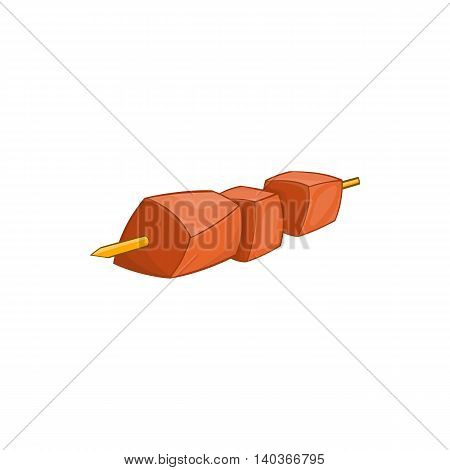 Barbecue kebab on a skewer icon in cartoon style on a white background
