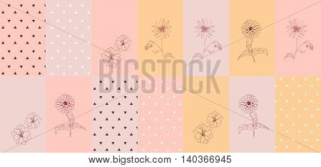 Ceramic tile with triangles and flowers. Vector illustration.