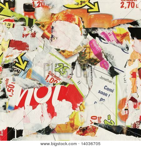 Grunge collage background made of torn advertisement posters, magazines.