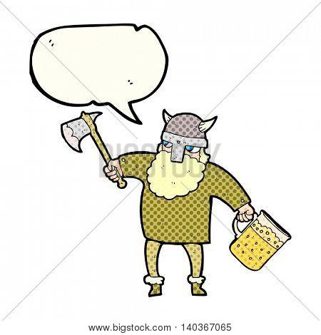 freehand drawn comic book speech bubble cartoon drunk viking