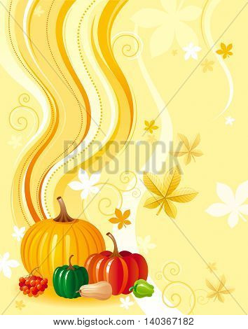 Autumn food vector background with pumpkin icon, squash, zucchini, paprika, and other vegetables illustrations. Abstract seasonal concept, fall gardening, farming harvest, thanksgiving day