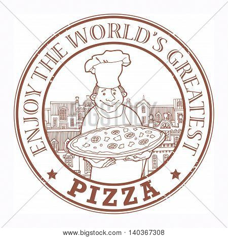 Stamp with text Pizza - Enjoy the Worlds Greatest written inside, vector illustration