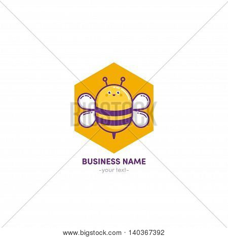 Vector Logo design Bee honey linear color