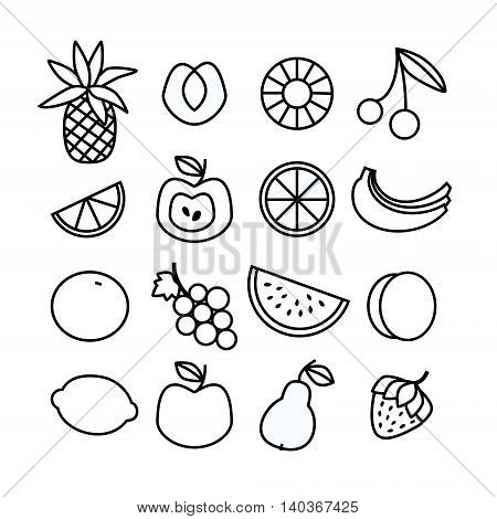 Monochrome Fruit icon set isolated. Vector Illustration