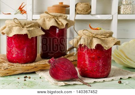 Salad with cabbage and beets. Home canning