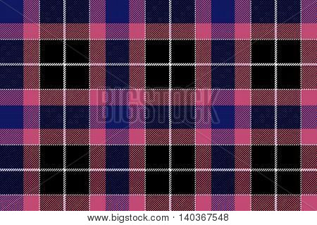 Pink blue check seamless plaid. Vector illustration. EPS10.