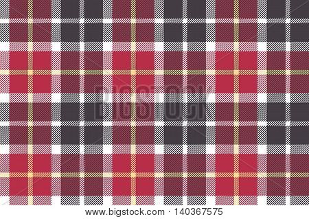 Red and gray check fabric seamless texture. Vector illustration.