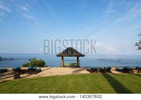 relaxing beach cabana at a beautiful beach
