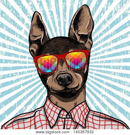Hand Drawn Fashion Illustration of dressed up english Toy Terrier, in colors. Vector EPS