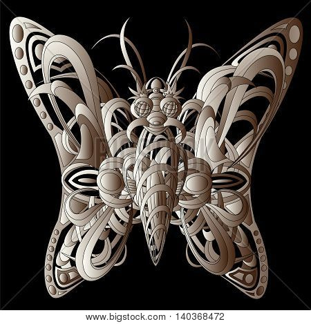 Patterned fantastic creature resembling a butterfly consisting of interweaving a variety of flexible objects. Isolated vector collapsible composition.