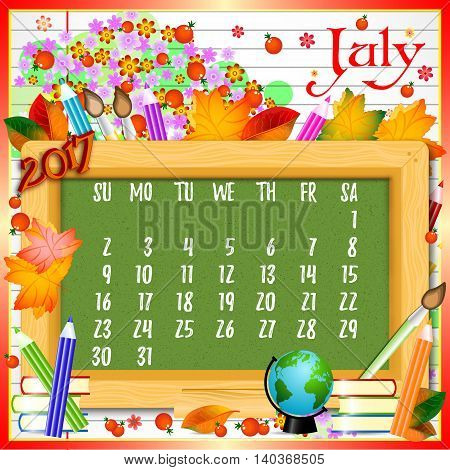 Calendar design grid with green chalkboard and school supplies on page of copybook in line. Back to school background with dates of summer month July 2017. Vector illustration