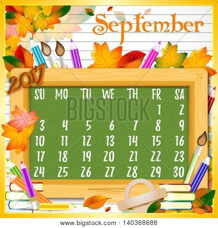 Calendar design grid with green chalkboard and school supplies on page of copybook in line. Back to school background with dates of autumn month September 2017. Vector illustration