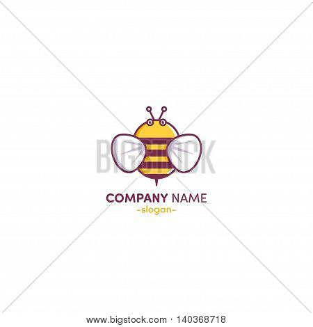 Bee Logo design template linear style. Outline icon.