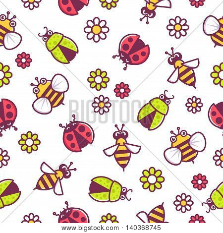Insects pattern vector seamless texture or background with bugs and beetles
