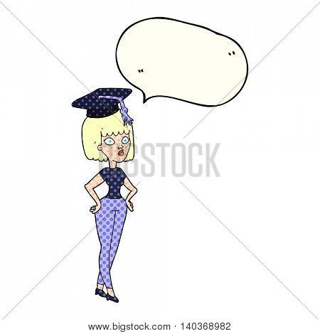 freehand drawn comic book speech bubble cartoon woman with graduation cap