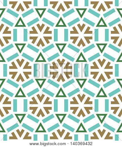 beautiful mosaic flat abstract multicolored geometric ornament for Wallpaper textiles ceramics. Seamless ceramic winter snowflake pattern on retro background. Positive emotions.