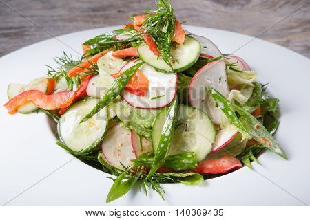 Fresh green salad with cucumber and radish