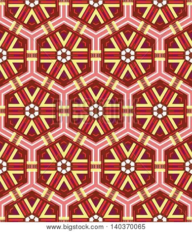beautiful mosaic flat abstract multicolored geometric ornament for Wallpaper textiles ceramics. Seamless ceramic pattern on red background.