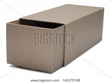 Half-open cardboard box. Isolated on the white background with shadow.