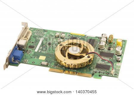 Electronic mother board isolated on white background
