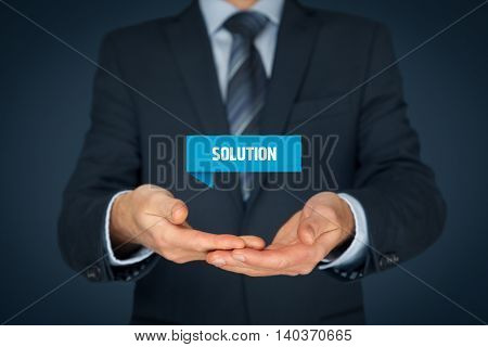 Businessman consultant or support employee give you a business solution (helping hand).