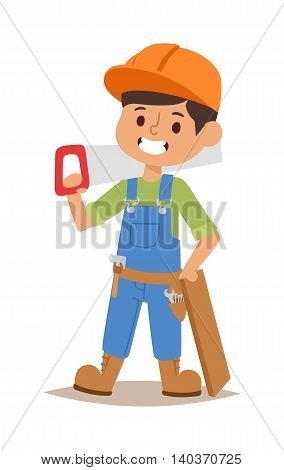 Builders kids carpenter builder with tools. Vector character builder kid, cute child construction. Little person work equipment. Fun young profession.
