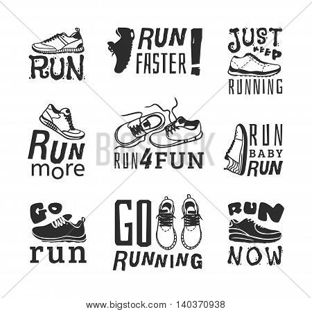 Set of running marathon logo and jogging emblems, labels and badges. isolated vector illustration. Running logo fitness training athlete symbols. Sprint jogging exercise running logo competition.