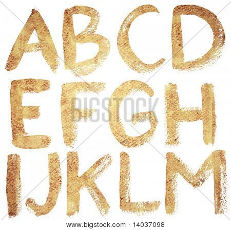 Textured hand drawn ABC letters set, isolated.