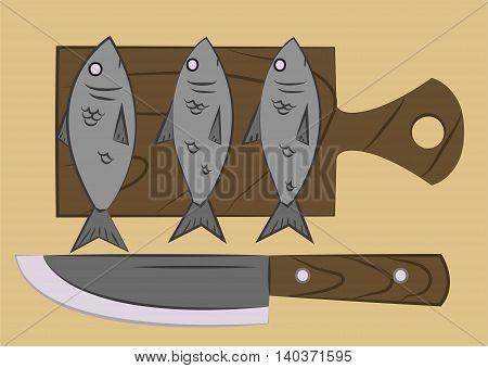 Fish On A Cutting Board
