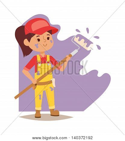 Builders kid artist painting girl builder with tools. Vector character builder kid, cute child construction. Little person work equipment. Fun young profession.