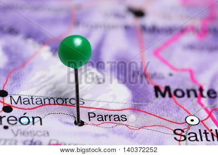 Parras pinned on a map of Mexico